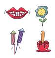 mouth firework apple and flower festa junina set vector image
