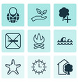 set of 9 ecology icons includes cigarette pin vector image