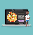 food delivery service conceptual young black man vector image vector image