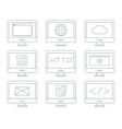 Internet icon set simple flat grey line contour vector image