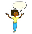 cartoon woman holding up hands with speech bubble vector image