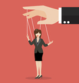 Business woman marionette on ropes vector image