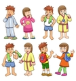 boy and girl daily morning life vector image