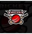 Cricket sports logo emblem vector image