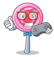 gamer cute lollipop character cartoon vector image