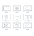 Internet icon set simple flat grey line contour vector image