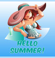 pretty woman in pool hello summer banner vector image
