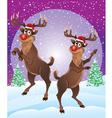 Rudolph The Reindeer Enjoying Snowfall vector image