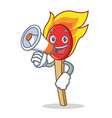 With megaphone match stick character cartoon vector image