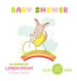 baby shower card - baby girl kangaroo on a bike vector image