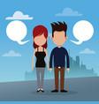 couple bubble speech urban background vector image