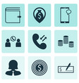 set of 9 management icons includes business woman vector image