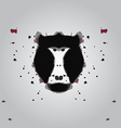 Black aggressive head of baboon monkey in style of vector image
