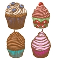 hand-drawn cupcake set vector image