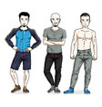 handsome young men group standing in stylish vector image