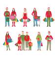 Happy family in santa hats isolated white vector image