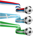 nigeria greek and russian flag with soccer ball vector image