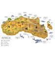 flat 3d isometric africa flora and fauna map vector image vector image