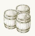 drawing wood barrel vector image