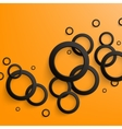 Abstract black paper circles on bright orange vector image vector image