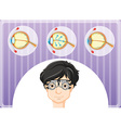 Man with eyeglasses and eyes problem vector image vector image
