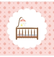 Baby crib icon on floral pattern vector image
