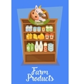 Farm products banner with supermarket shelves vector image