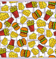 fast food seamless pattern fries potato cheese vector image