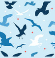 seamless pattern with seagulls on blue background vector image