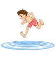 a boy diving into water vector image