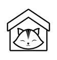 cat clossed eyes feline house pet outline vector image