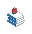 stack books apple back to school education concept vector image