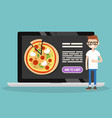 food delivery service conceptual young nerd vector image