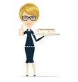 Young waitress carries drinks vector image