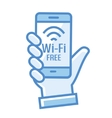 Wi-Fi free icon Wi-Fi zone icon with phone in vector image