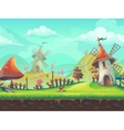 Seamless cartoon landscape with a windmill vector image
