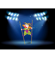 A clown doing a trick at the stage vector image