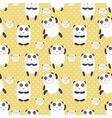 Cartoon pattern with cute panda guru in love vector image
