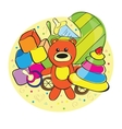 Hand drawn bear and other toys vector image