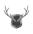 Horns hunting trophy on wall Black icon logo vector image