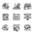 Longboard simple line icons set vector image