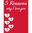 Card with love reasons vector image