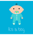 Baby shower card Its a boy Flat design style vector image
