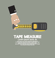 Tape Measure With Mans Hand vector image