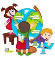 children make globe vector image