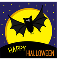 Cute bat big moon and stars Happy Halloween card vector image