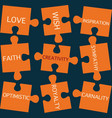 jigsaw puzzle pieces with words on the topic of cr vector image
