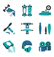 Longboard elements flat color icons vector image