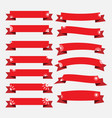 red christmas ribbon banners with snowflakes set vector image