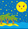 yellow yellow moon with a smile on the background vector image